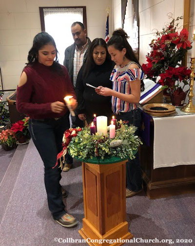 Members with Advent Wreath, 1/3/20 - visit Collbran Congregational Church in Collbran Colorado