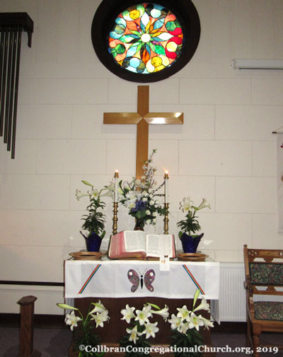 Easter altar in the Sanctuary, Collbran Congregational Church, 2019